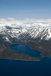 """Emerald Bay, Lake Tahoe Aerial 2"" - Aerial photograph of the blue waters of Emerald Bay in Lake Tahoe, CA and Cascade Lake."