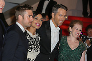 "CANNES, FRANCE - MAY 16:  Scott Speedman, actress Rosario Dawson, actor Ryan Reynolds and actress Mireille Enos attends ""The Captive"" Premiere at the 67th Annual Cannes Film Festival on May 16, 2014 in Cannes, France.  (Photo by Tony Barson/FilmMagic)"