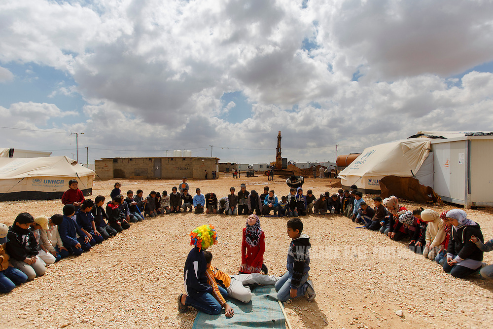 Syrian refugee children performing Shakespeare's King Lear perform in rehersals in Zaatari Refugee Camp on March 15, 2014 in Al Mafraq, Jordan. (Warrick Page/Reportage by Getty Images for Le Monde)