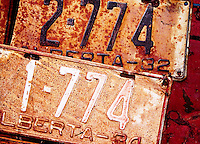 Rusty antique license plates - a memory of times past