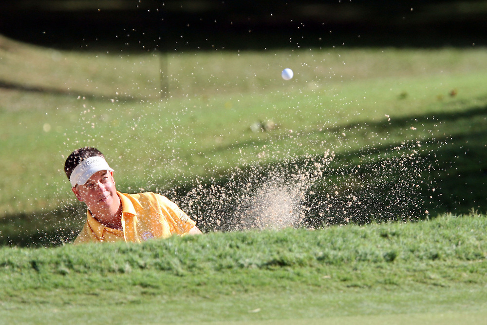 10 August 2007: Scott Hebert hits out of the green-side bunker on the 8th hole during the second round of the 89th PGA Championship at Southern Hills Country Club in Tulsa, OK.