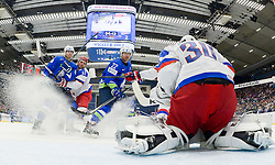 Miha Verlic of Slovenia, Artyom Anisimov of Russia, Marcel Rodman of Slovenia and Konstantin Barulin of Russia during Ice Hockey match between Russia and Slovenia at Day 3 in Group B of 2015 IIHF World Championship, on May 3, 2015 in CEZ Arena, Ostrava, Czech Republic. Photo by Vid Ponikvar / Sportida