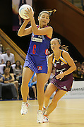 Temepara George in action during round 4 of the ANZ Netball Championship - Queensland Firebirds v Northern Mystics. Played at Brisbane Convention Centre. Firebirds (46) defeated the Mystics (40).  Photo: Warren Keir(SMP/Photosport).<br /> <br /> Use information: This image is intended for Editorial use only (e.g. news or commentary, print or electronic). Any commercial or promotional use requires additional clearance.