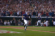 David Richard/MLB.com.Cleveland's Travis Hafner hits a game-winning single in the bottom of the 11th inning of Game 2  in the 2007 ALDS at Jacobs Field in Cleveland.