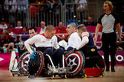 David Anthony and Mike Kerr of Great Britain in the Wheelchair Rugby Mixed.Pool Phase of Group A,.USA 56 - 44 GBR at the Basketball arena on day 7 of the London 2012 Paralympic Games. 6th September 2012.