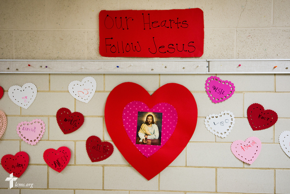 A wall is adorned with decorations at Holy Cross Lutheran Church and School on Friday, Feb. 21, 2014. LCMS Communications/Erik M. Lunsford