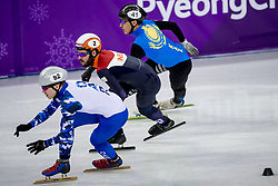 20-02-2018 KOR: Olympic Games day 11, PyeongChang<br /> 500m mannen shorttrack / Nurbergen Zhumagaziyev of Kazakhstan, Sjinkie Knegt of the Netherlands, Aleksandr Shulginov of Olympic Athlete from Russia