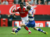 Photo: Tom Dulat.<br /> <br /> Charlton Athletic v Queens Park Rangers. Coca Cola Championship. 27/10/2007.<br /> <br /> Hogan Ephraim of Queens Park Rangers and Lloyds Sam of Charlton Athletic with the ball.