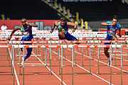 Omar McLeod (JAM) centre, during the men's 110m hurdles in a time of 13.21 ahead of Freddie Crittenden (USA) right, and Daniel Roberts (USA) during the Birmingham Grand Prix, Sunday, Aug 18, 2019, in Birmingham, United Kingdom. (Steve Flynn/Image of Sport via AP)