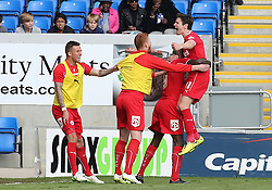 Crawley's Josh Simpson celebrates scoring his goal - Photo mandatory by-line: Joe Dent/JMP - Mobile: 07966 386802 - 25/04/2015 - SPORT - Football - Peterborough - ABAX Stadium - Peterborough United v Crawley Town - Sky Bet League One