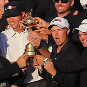 Ryder Cup 2016. Day Three. Jordan Spieth and the United States team celebrate their  Ryder Cup win after the United States victory over Europe in the Ryder Cup tournament at Hazeltine National Golf Club on October 02, 2016 in Chaska, Minnesota.  (Photo by Tim Clayton/Corbis via Getty Images)