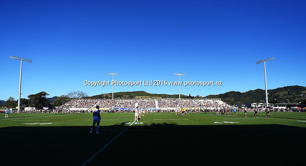 General view of Trafalgar Park during the Pre season NRL game Vodafone Warriors v St George Illawarra Dragons. Trafalgar Park, Nelson, New Zealand. Saturday 20 February 2016. Copyright Photo: Chris Symes / www.photosport.nz