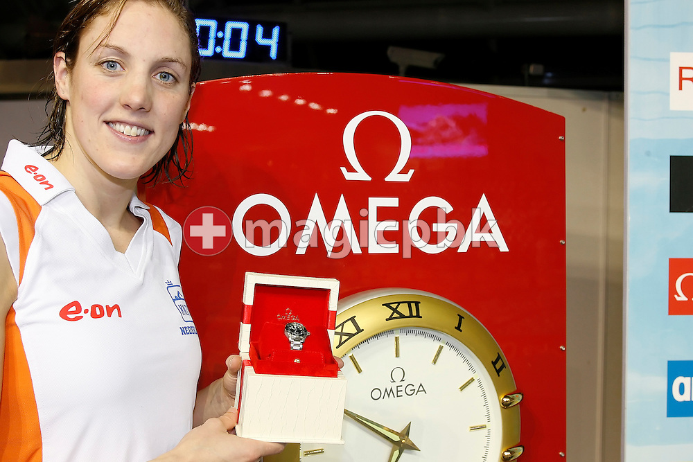 Marleen Veldhuis of the Netherlands wins an Omega watch for the best female performance on day at the European Short Course Swimming Championships in Rijeka, Croatia, Thursday, Dec. 11, 2008. (Photo by Patrick B. Kraemer / MAGICPBK)
