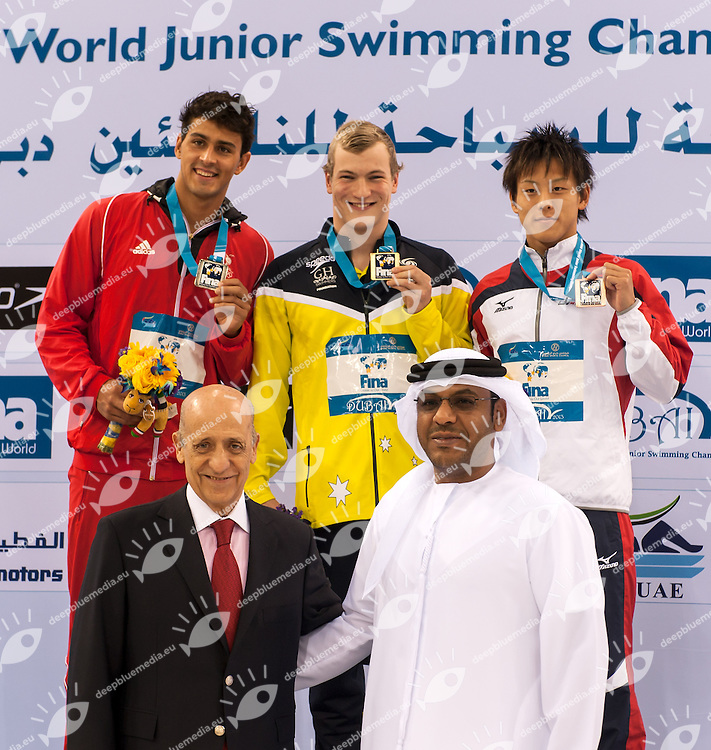 Carter  Dylan	Trinidad &amp; Tobago 2nd silver medal (L)<br /> Jones Cameron Australia 1st Gold medal World Champion<br /> Yasue  Takaya	Japan 3rd bronze medal <br /> below: Julio Maglione FINA President<br /> 50 Butterfly Men<br /> 4th FINA World Junior Swimming Championships<br /> Day05 30Aug. finals<br /> Dubai U.A.E. 26-31 August 2013<br /> Photo G. Scala/Insidefoto/Deepbluemedia.eu