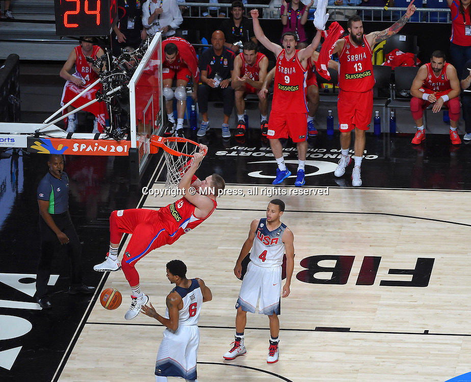 VLADIMIR STIMAC of Serbia basketball team in action during Final FIBA World cup match against  DEMAR DEROZAN of United states of America , Madrid, Spain Photo: MN PRESS PHOTO<br /> Basketball, Serbia, United states of America, Final, FIBA World cup Spain 2014