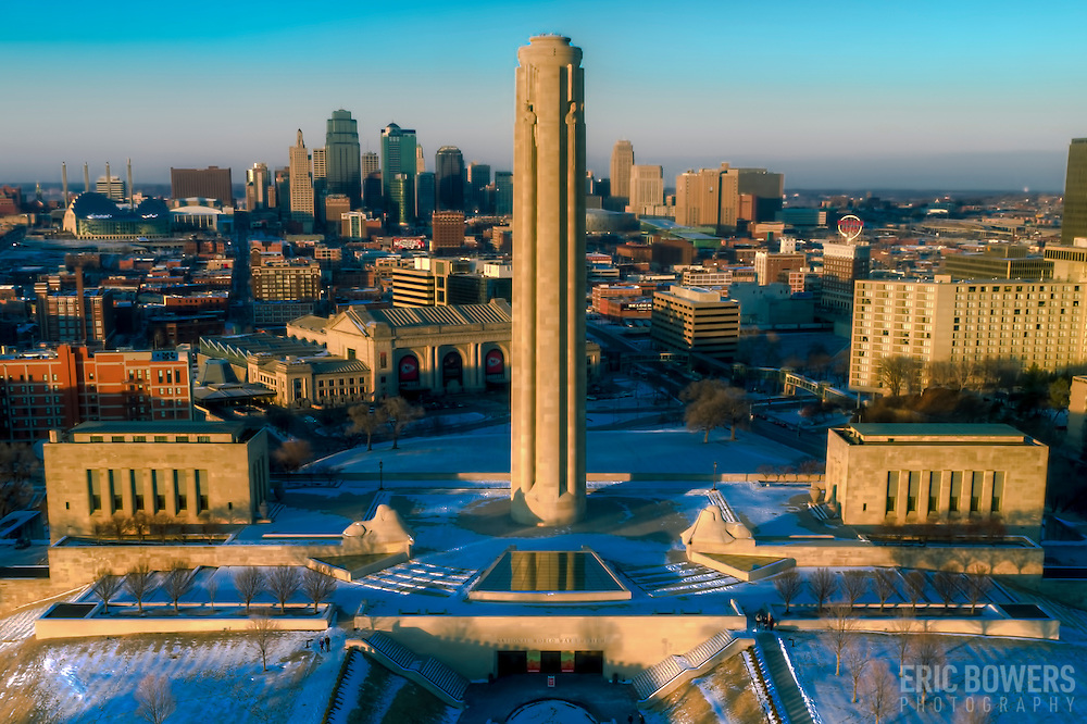 Aerial/UAV drone photograph of downtown Kansas City Missouri and Liberty Memorial on a late Sunday winter afternoon, January 2017.