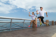 Patrick Loliger and Analicia Ramírez portraits Wings For Life World Run 2014 Ambassadors in  Start line race in Cancún México, 2th May 2014