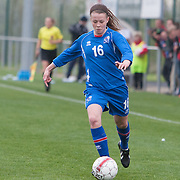 21120413 - IEPER, BELGIUM : Iceland's  Sandra Jessen (16)  during the Second qualifying round of U17 Women Championship between England and Iceland on Friday April 13th, 2012 in Ieper, Belgium.