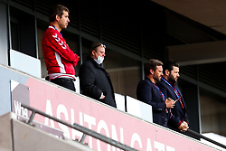 Bristol City Chairman Jon Lansdown (in red) and Bristol City CEO Mark Ashton look dejected in the Director's box after a 0-1 loss - Rogan/JMP - 04/07/2020 - Ashton Gate Stadium - Bristol, England - Bristol City v Cardiff City - Sky Bet Championship.