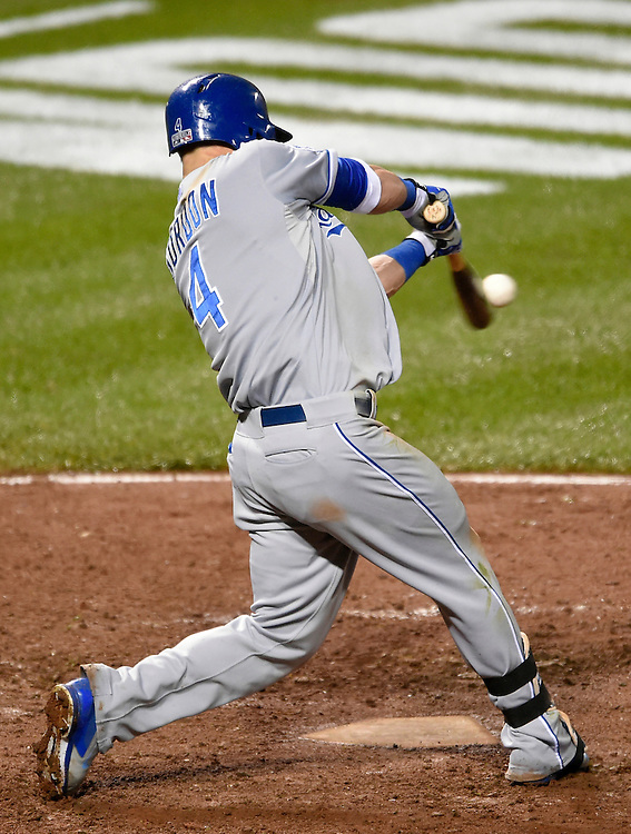Kansas City Royals Alex Gordon hits a solo home run in the 10th inning against the Baltimore Orioles at Friday's American League Championship Series playoff baseball game on October 10, 2014 at Camden Yards in Baltimore, Md.