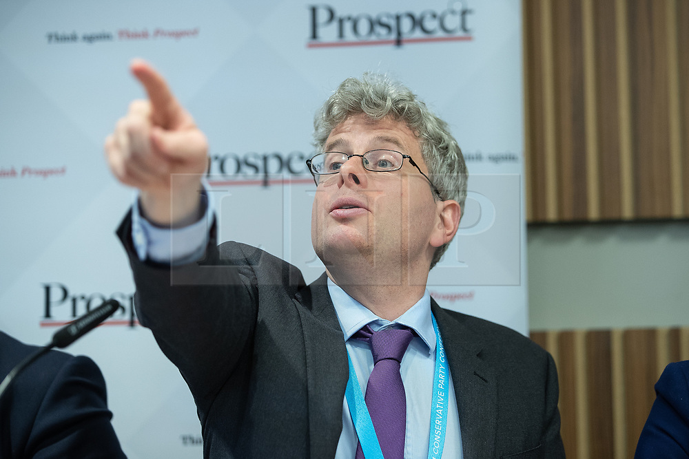 """© Licensed to London News Pictures . 01/10/2018. Birmingham, UK. Tom Clark of Prospect . Prospect magazine fringe event titled """" Beyond tariffs where are our opportunities to boost trade post-Brexit """" , supported by Associated British Ports . Day 2 of the Conservative Party conference at the ICC in Birmingham . Photo credit: Joel Goodman/LNP"""