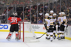 Jan 4, 2012; Newark, NJ, USA;  The Boston Bruins celebrate a goal by Boston Bruins right wing Nathan Horton (18) during the first period at the Prudential Center.