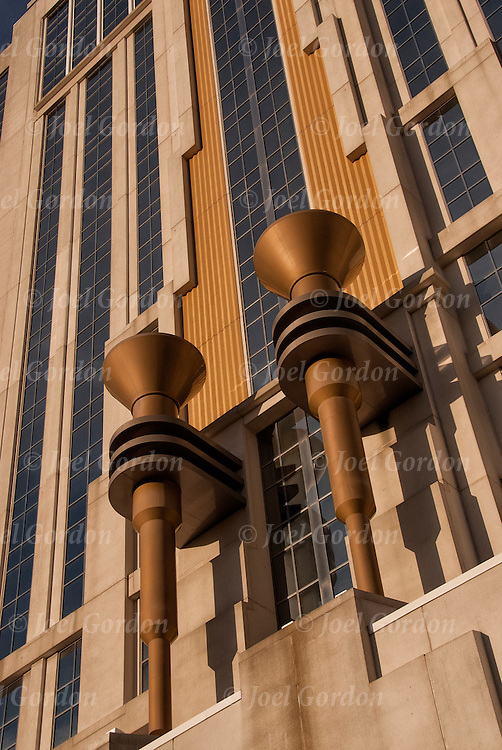 Looking up at Art Deco Torches on exterior of Resorts Casino Hotel side entrance in Atlantic City, NJ