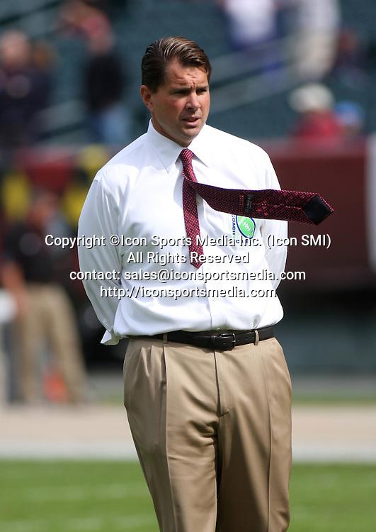 26 September 2009: Temple head football coach Al Golden looks on before Temple University's 37-13 win against Buffalo University at Lincoln Financial Field in Philadelphia, Pennsylvania.