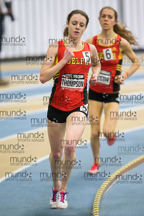 Windsor, Ontario ---2015-03-13--- Carise Thompson of Guelph competes in the 3000m at the 2015 CIS Track and Field Championships in Windsor, Ontario, March 13, 2015.<br /> GEOFF ROBINS/ Mundo Sport Images