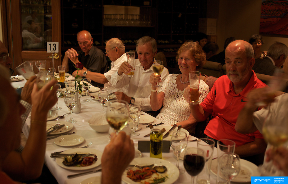 Competitors enjoy the official dinner during the 2009 ITF Super-Seniors World Team and Individual Championships at Perth, Western Australia, between 2-15th November, 2009.
