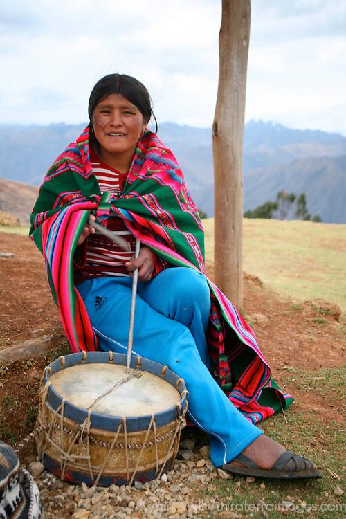 Americas, South America, Peru, Urubamba. Native Quechua local with drum.