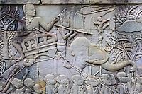 Asie du Sud Est, Cambodge, Province de Siem Reap, Angkor, complexe des temples de Angkor, Patrimoine Mondial UNESCO en 1992, temple de Bayon, XIII siecle, sculpture bas relief // Southeast Asia, Cambodia, Siem Reap Province, Angkor, Unesco World heritage since 1992, Bayon temple, XIII th century, relief sculpture