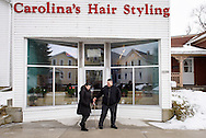 Vicar David Blas, missionary-at-large at LCMS Sheboygan County Hispanic Outreach and St. John's Lutheran Church of Plymouth, Wis., leaves Carolina's Hair Styling with his wife Maria on Thursday, Jan. 28, 2016, in Sheboygan, Wis. LCMS Communications/Erik M. Lunsford