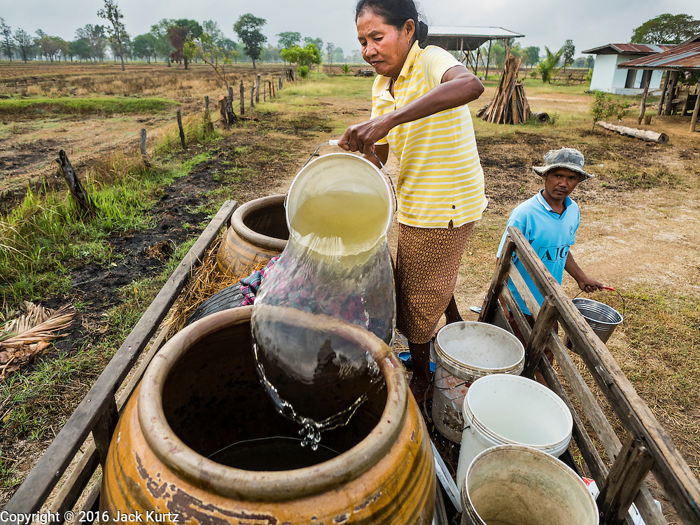 20 JANUARY 2016 - SI LIAM, BURI RAM, THAILAND: A woman helps her neighbor fill his water jugs when they went looking for water. In return, she got to keep some of the water when they got back to their homes. The water was more than one mile from their homes in Si Liam. The drought gripping Thailand was not broken during the rainy season. Because of the Pacific El Nino weather pattern, the rainy season was lighter than usual and many communities in Thailand, especially in northeastern and central Thailand, are still in drought like conditions. Some communities, like Si Liam, in Buri Ram, are running out of water for domestic consumption and residents are traveling miles every day to get water or they buy to from water trucks that occasionally come to the community. The Thai government has told farmers that can't plant a second rice crop (Thai farmers usually get two rice crops a year from their paddies). The government is also considering diverting water from the Mekong and Salaween Rivers, on Thailand's borders to meet domestic needs but Thailand's downstream neighbors object to that because it could leave them short of water.        PHOTO BY JACK KURTZ