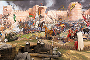 Historical war scene painting World War I Turkish defence battle of Gallipoli exhibit, Military Museum in Istanbul, Turkey