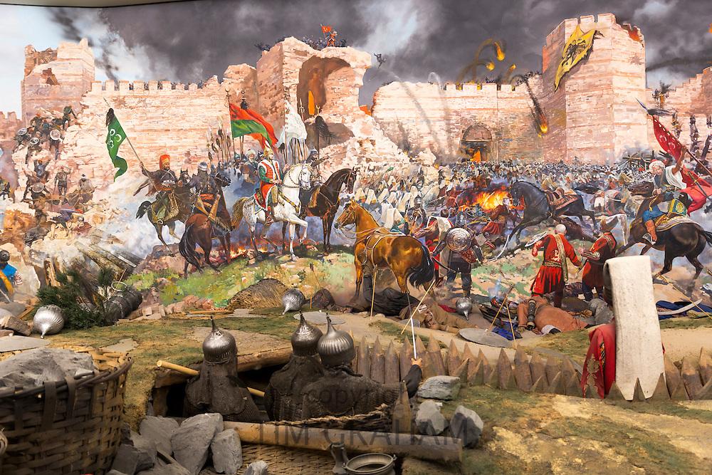 Historical war scene painting World War I Turkish defence battle of Gallipoli exhibit, Military Museum in Istanbul, Turkey