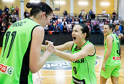 Sandra Pirsic of Slovenia and Nika Baric of Slovenia celebrate after winning and qualifying during basketball match between Women National Teams of Slovenia and Lithuania in Qualifications of EuroBasket Women 2017, on November 19, 2016 in Gimnazija Celje, Slovenia. Photo by Vid Ponikvar / Sportida