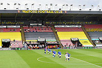 Football - 2019 / 2020 Premier League - Watford vs. Leicester City<br /> <br /> Leicester City players come out onto the pitch, at Vicarage Road.<br /> <br /> COLORSPORT/ASHLEY WESTERN