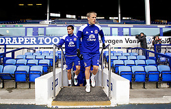LIVERPOOL, ENGLAND - Tuesday April 3, 2012: Everton's captain Phil Neville and Tim Cahill before a training session at Goodison Park ahead of the FA Cup Semi-Final Merseyside Derby match with city rivals Liverpool at Wembley. (Pic by Vegard Grott/Propaganda)