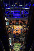 Celebrity Reflection departs on its preview sailing out of The Netherlands before beginning its European inaugural sailing on 12th October 2012 from Amsterdam..Lift atrium.