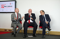 NEWPORT, WALES - Saturday, April 20, 2013: UEFA President Michel Platini with FAW President Trefor Lloyd-Hughes and Chief-Executive Jonathan Ford at the opening of the FAW National Development Centre in Newport. (Pic by David Rawcliffe/Propaganda)