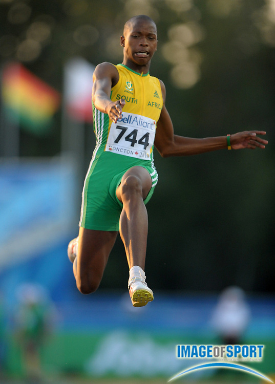 Jul 21, 2010; Moncton, NB, CANADA; Luvo Manyongo (RSA) won the long jump in the 13th IAAF World Junior Championships in Athletics at Stade Moncton 2010. Photo by Image of Sport