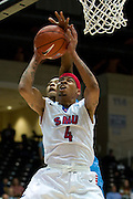 GARLAND, TX - NOVEMBER 11: Keith Frazier #4 of the SMU Mustangs has his shot blocked by E.C. Matthews #0 of the Rhode Island Rams on November 11, 2013 at the Curtis Culwell Center in Garland, Texas.  (Photo by Cooper Neill/Getty Images) *** Local Caption *** Keith Frazier; E.C. Matthews
