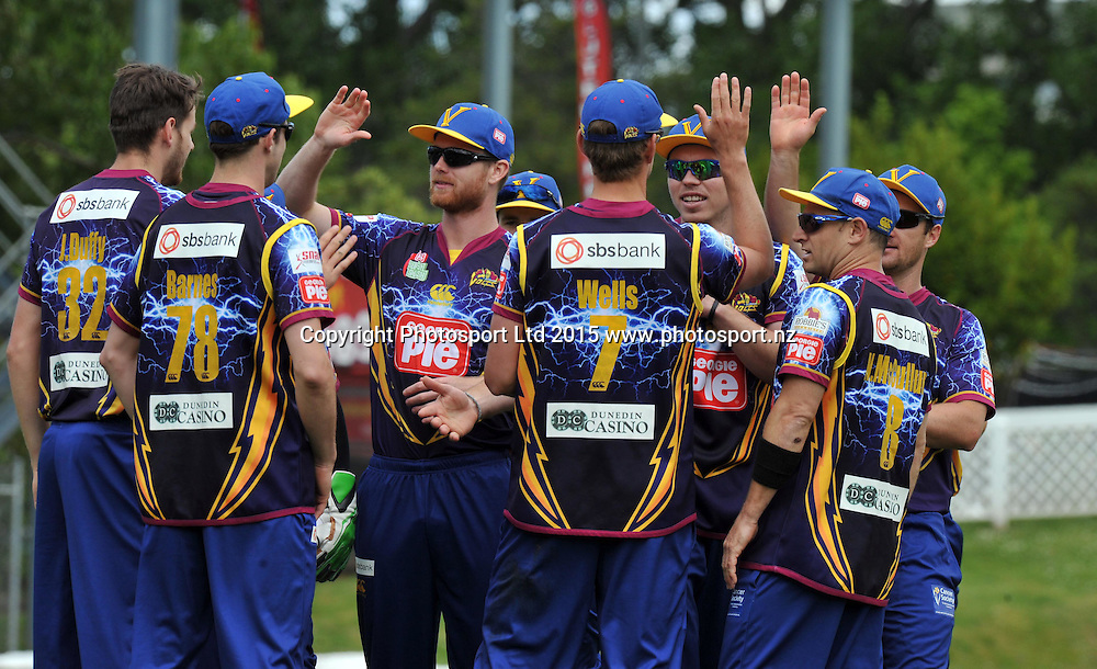Otago Volts players celebrate the wicket of Canterbury Kings Aiden Blizzard at the Georgie Pie Super Smash Twenty20 cricket match between the Otago Volts v Canterbury Kings held at the University Oval, Dunedin. 29 November 2015.