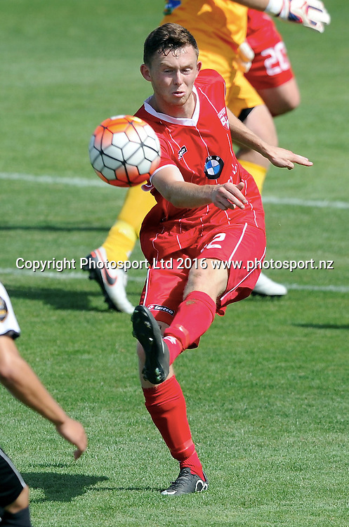 Waitakere United's Mathew Greenslade clears in the ASB Premiership match, Hawkes Bay United v Waitakere United, Bluewater Stadium, Napier, Sunday, February 28, 2016. Copyright photo: Kerry Marshall / www.photosport.nz