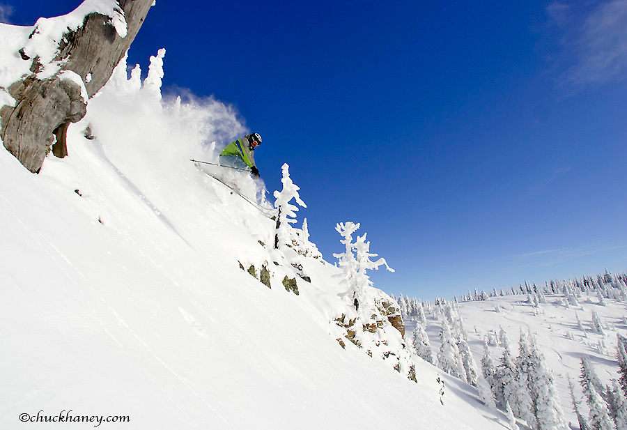 Skiing in the powder and Snowghosts at Whitefish Mountain Resort in Montana model released