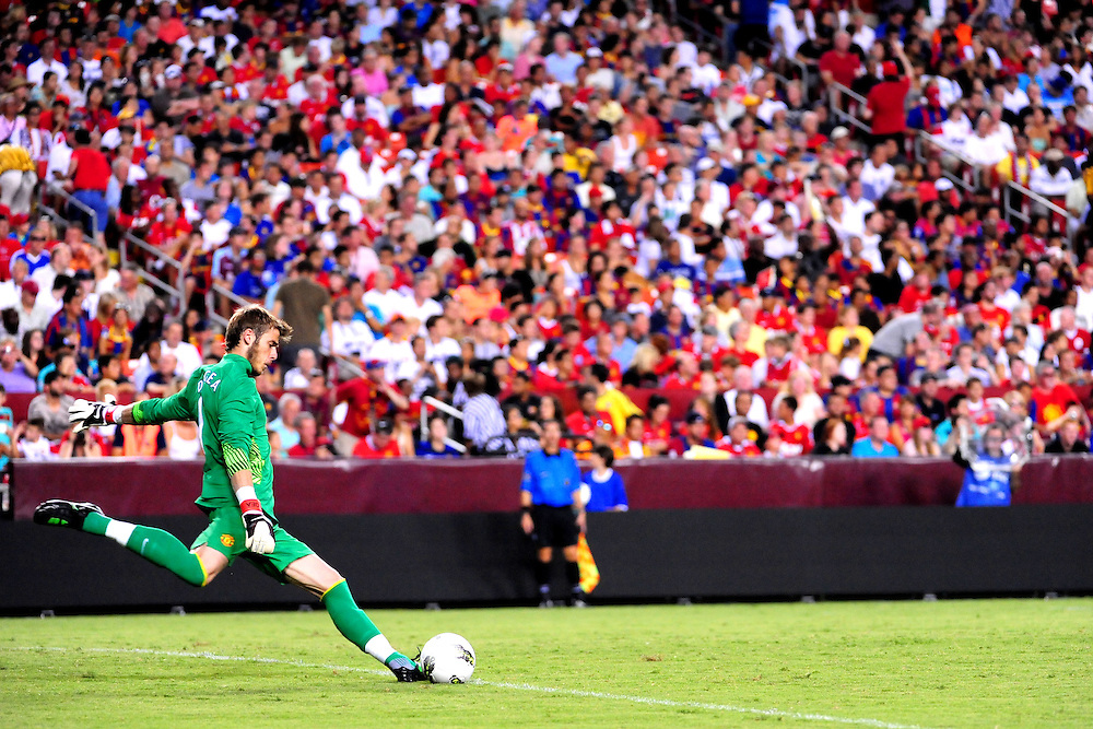 David de Gea (Manchester United) takes a goal kick. - FC Barcelona vs. Manchester United - Pre-Season Friendly at Red Bull Arena, New York - 30/07/11 - Mandatory Credit: Pixel8 Photos/Jack Megaw - +44(0)7734 151429 - info@pixel8photos.com - NO UNPAID USE.