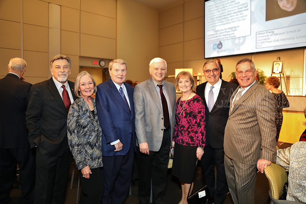 Co-chair Tom Eschen, Carol Voss, Jim Lehrer, Jim Kirchherr, Betsy Bruce, Jack Gelmiche, Bill Greenblatt