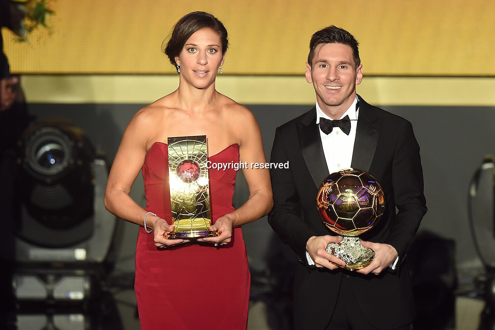11.01.2016. Zurich, Switzerland. The FIFA Ballon D'Or Awards. Winners Lionel Messi (arg) and Carli LLOYD, USA FIFA Ballon d Or players of the year 2015