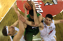 Miha Zupan and Eduardo Hernandez-Sonseca and Saso Ozbolt at basketball match of 6th Round of Group C in Euroleague between KK Union Olimpija and DKV Joventut, on December 4, 2008 in Arena Tivoli, Ljubljana, Slovenia. Union Olimpija : DKV Joventut 65:86. (Photo by Vid Ponikvar / Sportida)